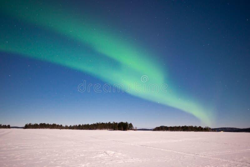 Nordliga ljus, Aurora Borealis i Lapland Finland arkivfoton