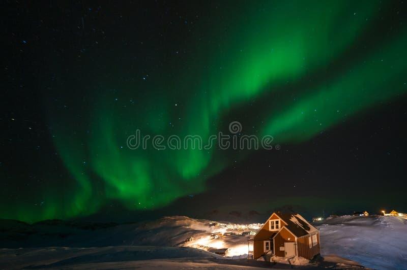 Nordliga ljus för Grönland fotografering för bildbyråer