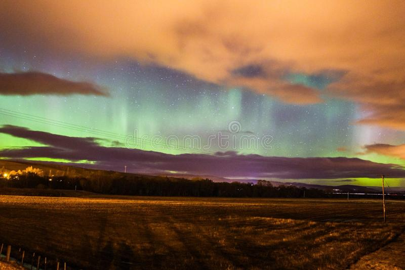 Nordliga ljus för norrsken i Skottland arkivbild