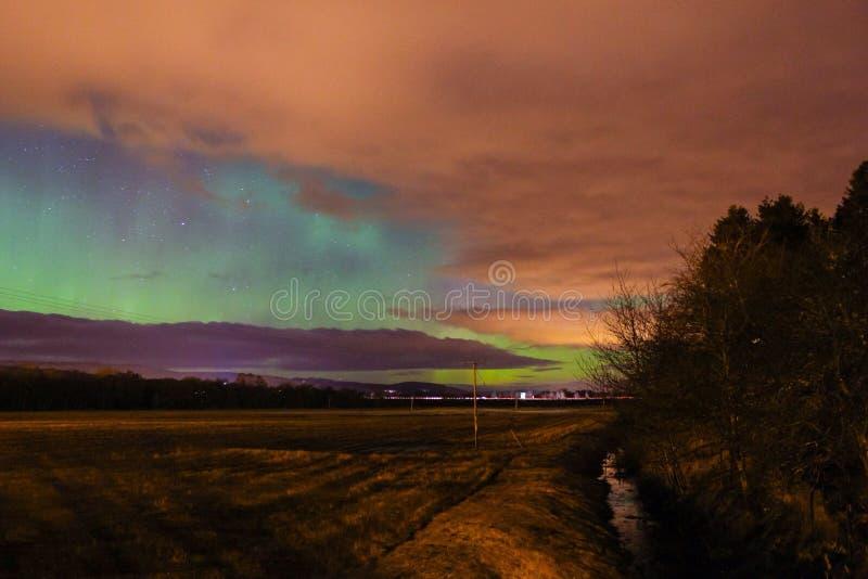 Nordliga ljus för norrsken i Skottland royaltyfria bilder