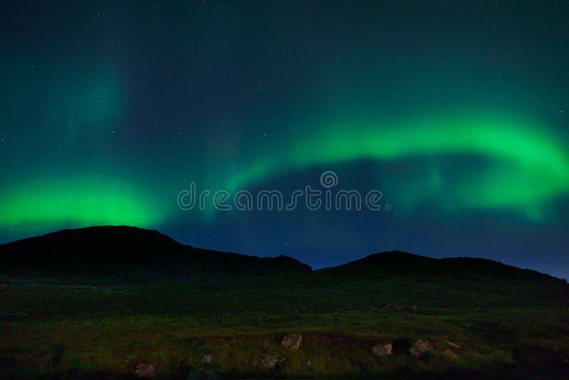 Nordliga ljus i Lofoten, Norge arkivfoto