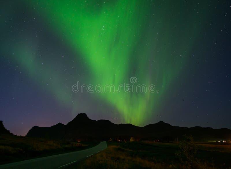 Nordliga ljus i Lofoten, Norge royaltyfri bild