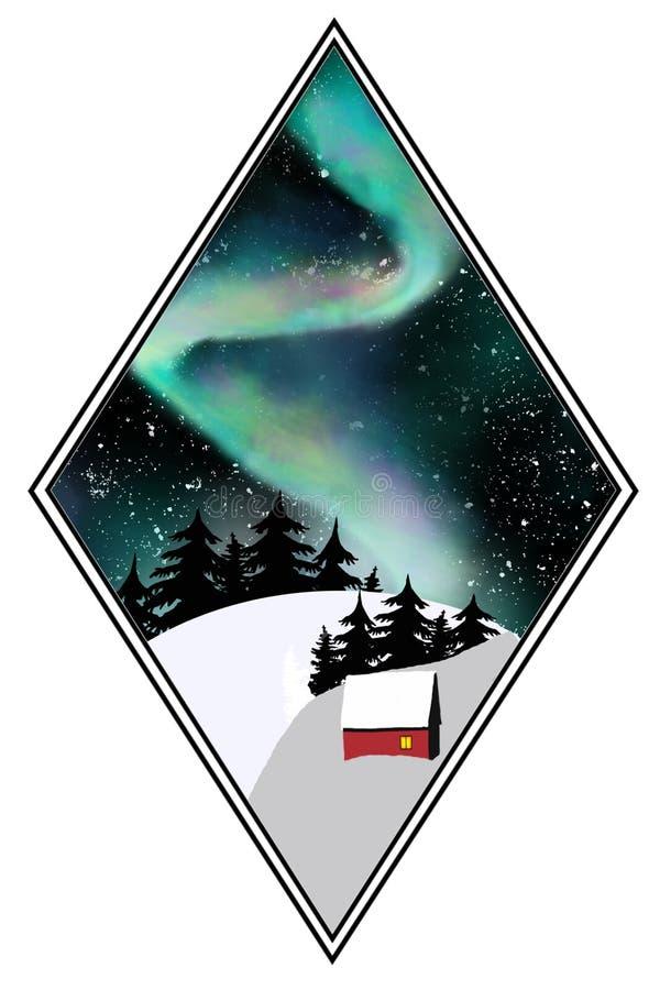 Nordliga ljus i nattskogen stock illustrationer