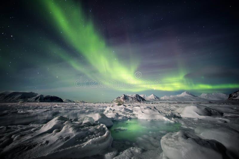 Nordliga ljus ovanför den arktiska glaciären och bergen - Svalbard, Spitsbergen royaltyfri fotografi