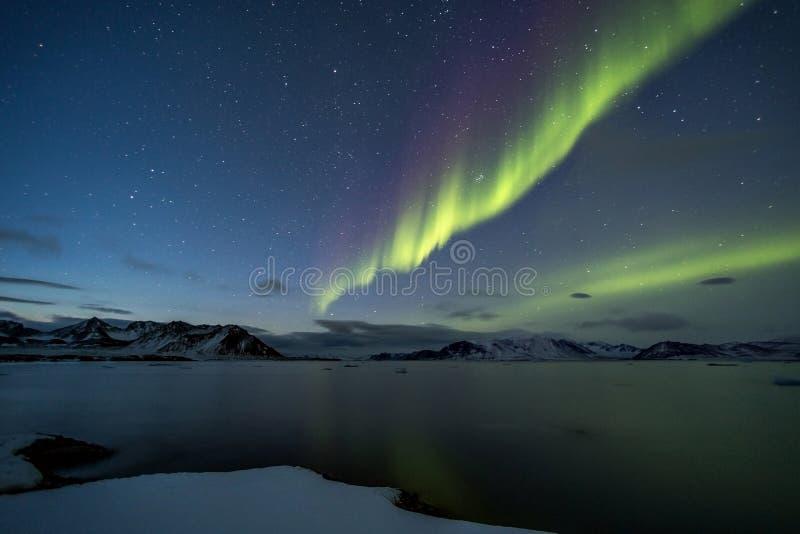 Nordliga ljus på den arktiska himlen royaltyfri foto