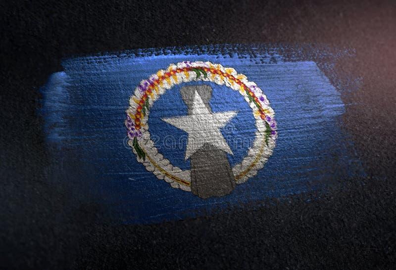 Nordliga Mariana Islands Flag Made av metallisk borstemålarfärg på Gr royaltyfri foto