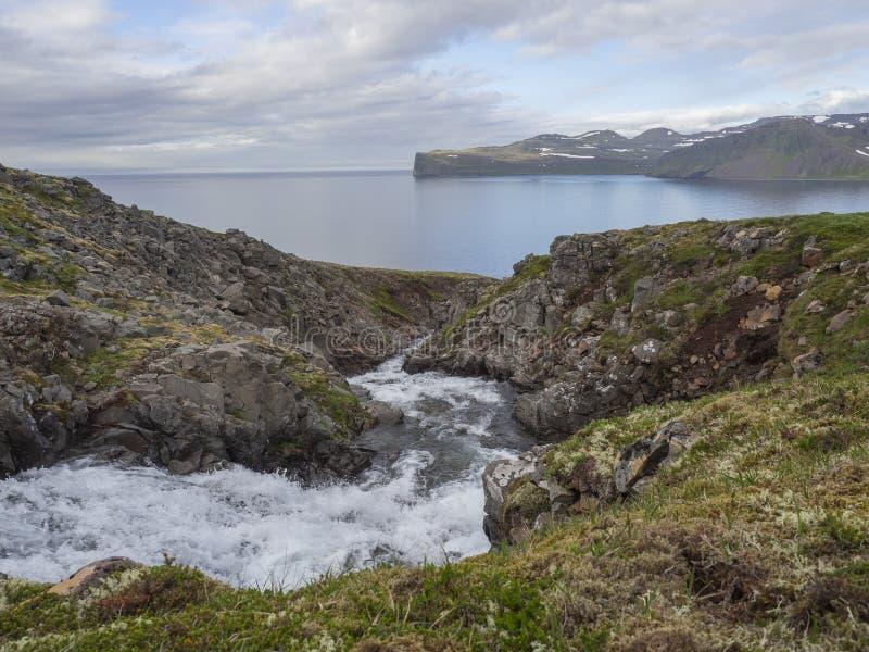 Nordligt löst sommarlandskap, sikt på beatuful klippor i den Hloduvik lilla viken i den västra fjordnaturreserven Hornstrandir i  arkivbilder