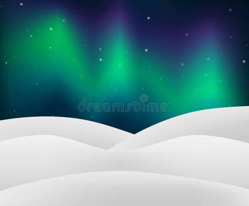 Nordligt ljus med snöig plats vektor illustrationer