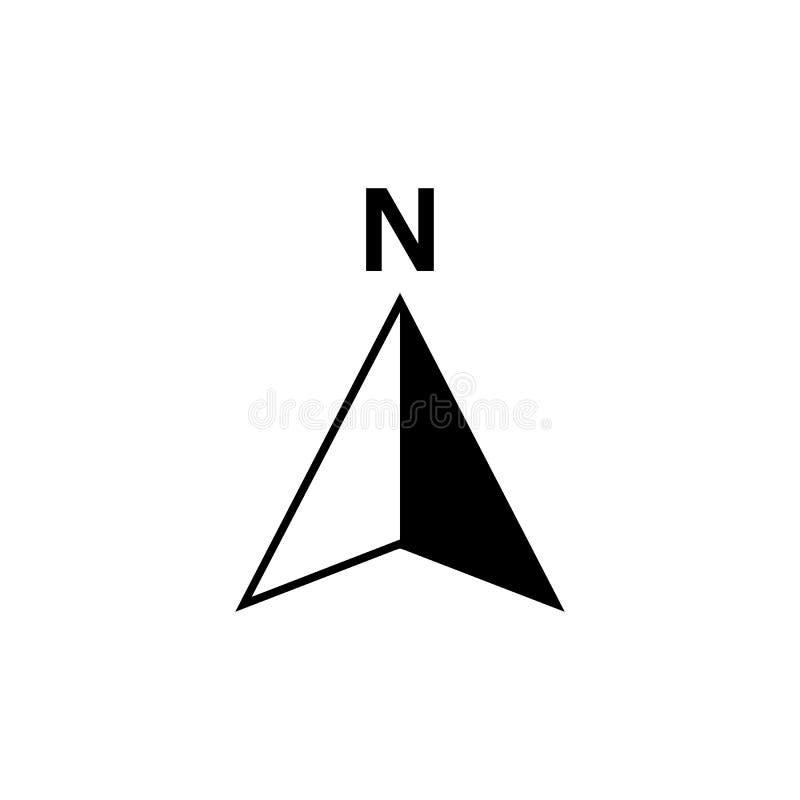 Nordpfeilikone oder n-Richtung und -navigation zeigen Symbol Vektorlogo für GPS-Navigatorkarte stock abbildung