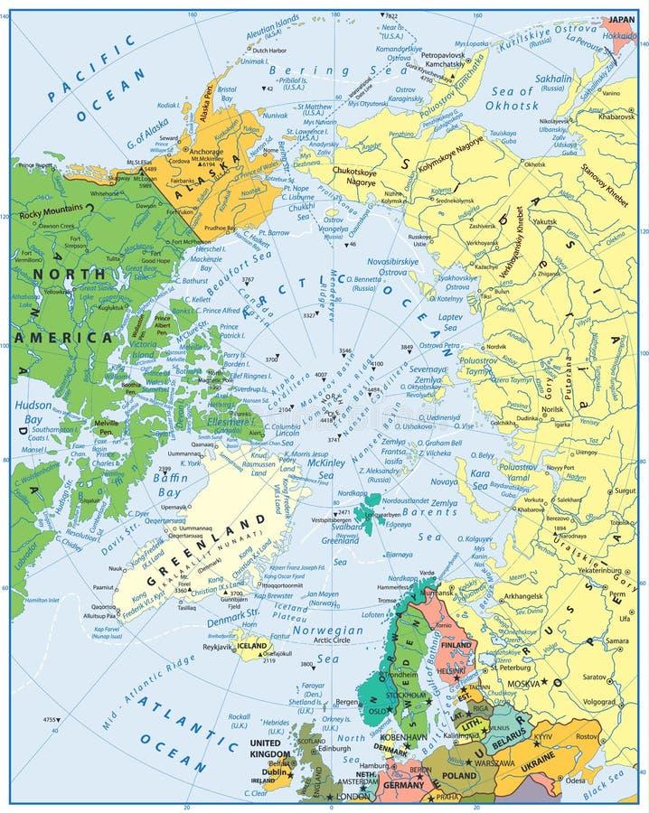 Nordpolarmeer Karte.Nordpolarmeer Karte In Den Farben Des Blaus Vektor Abbildung