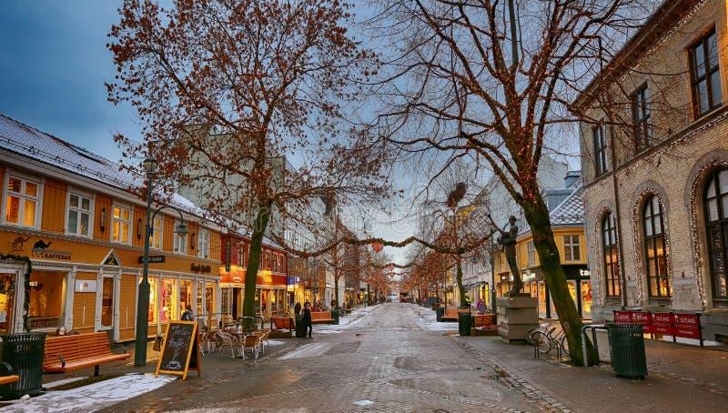 Nordre街道在特隆赫姆,挪威 免版税库存照片