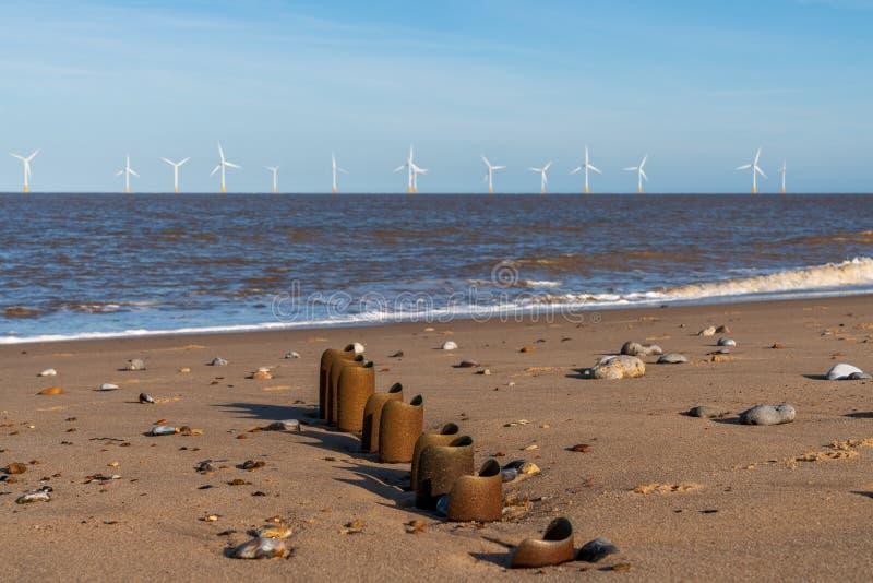 Nordsjönkust i Caister-på-havet, Norfolk, England, UK royaltyfria bilder