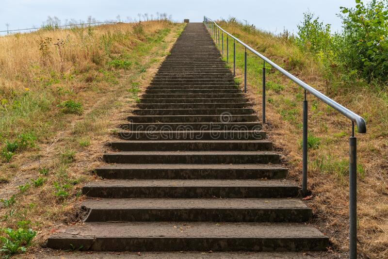 Nordsternpark in Gelsenkirchen, North Rhine-Westfalia, Germany. Stairs up to the viewpoint at the Nordsternpark, Gelsenkirchen, North Rhine-Westfalia, Germany royalty free stock images