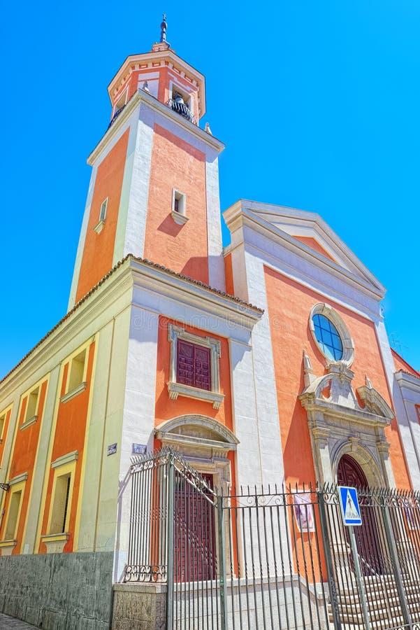 Nordvästlig fasad av St Lawrence Church i Madrid arkivfoto