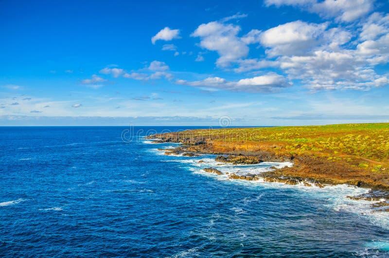 Nordvästlig kust av Tenerife nära den Punto Teno fyren, Canaria royaltyfri fotografi