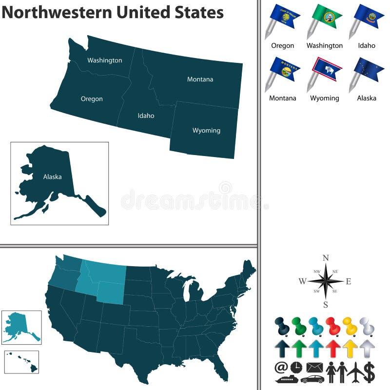 Nordwestlich von Vereinigten Staaten lizenzfreie abbildung
