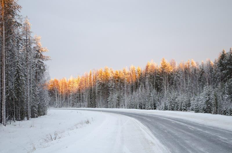 Nordwinterstraße beleuchtet durch die Strahlen der untergehenden Sonne lizenzfreie stockbilder