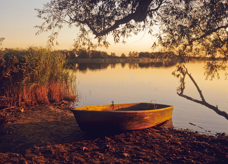 Norfolk broads. England east anglia the norfolk broads national park filby broad at sunset stock photo