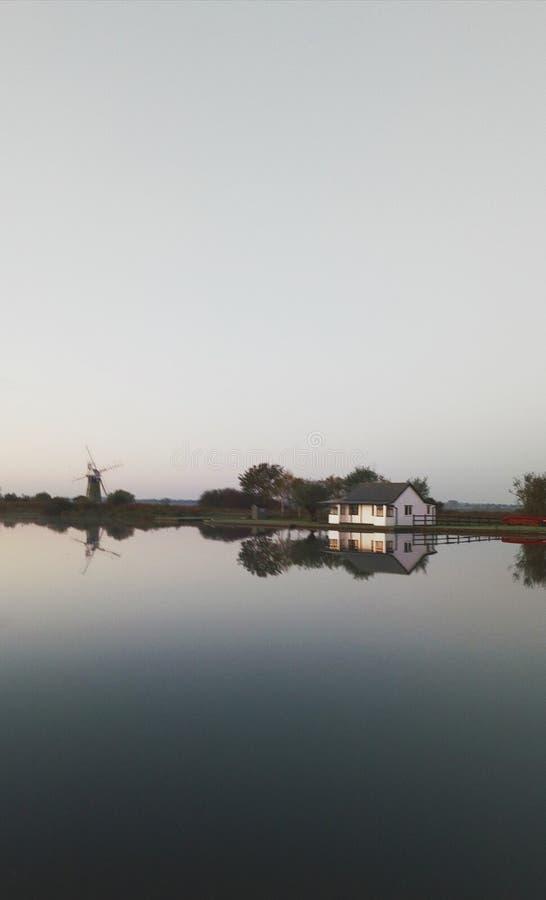 Norfolk Broads at sunrise stock image