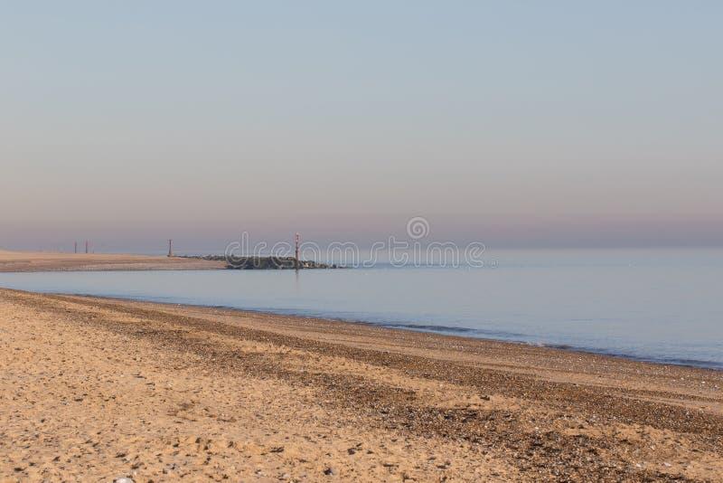 Norfolk Coast. English coastal horizon view East Anglia. Simple sea and beach landscape with natural sky copy space stock photo