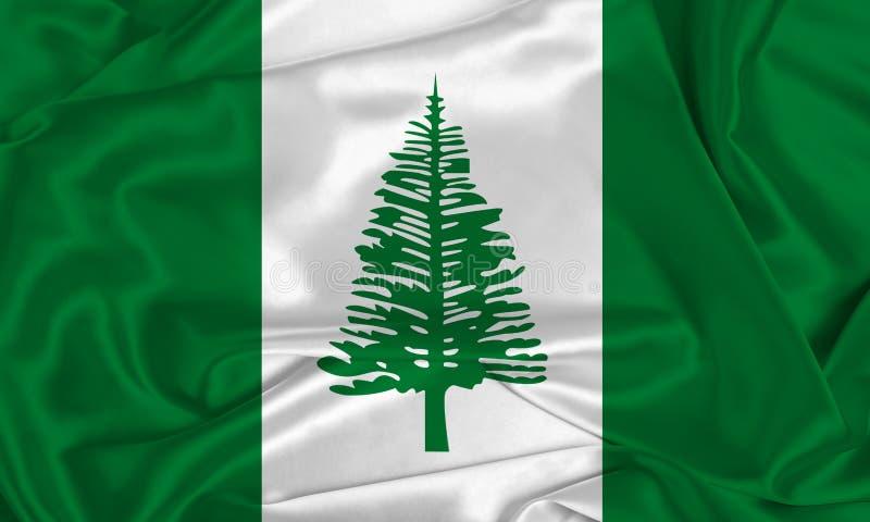 Silk Norfolk Island Flag. A Norfolk Island flag over silk texture stock image