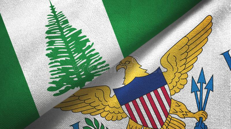 Norfolk Island and Virgin Islands United States two flags textile cloth. Norfolk Island and Virgin Islands United States two folded flags together royalty free stock images