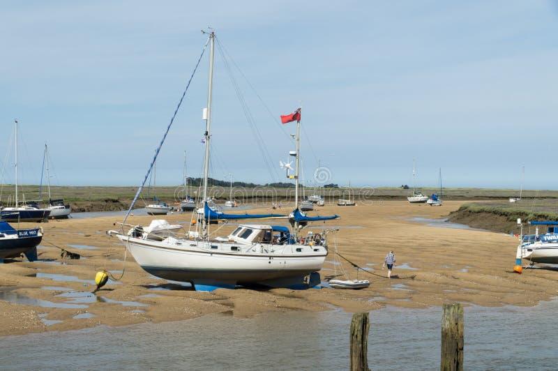 Norfolk-Küstenlinie, blaue Himmel der Segelboote lizenzfreies stockfoto