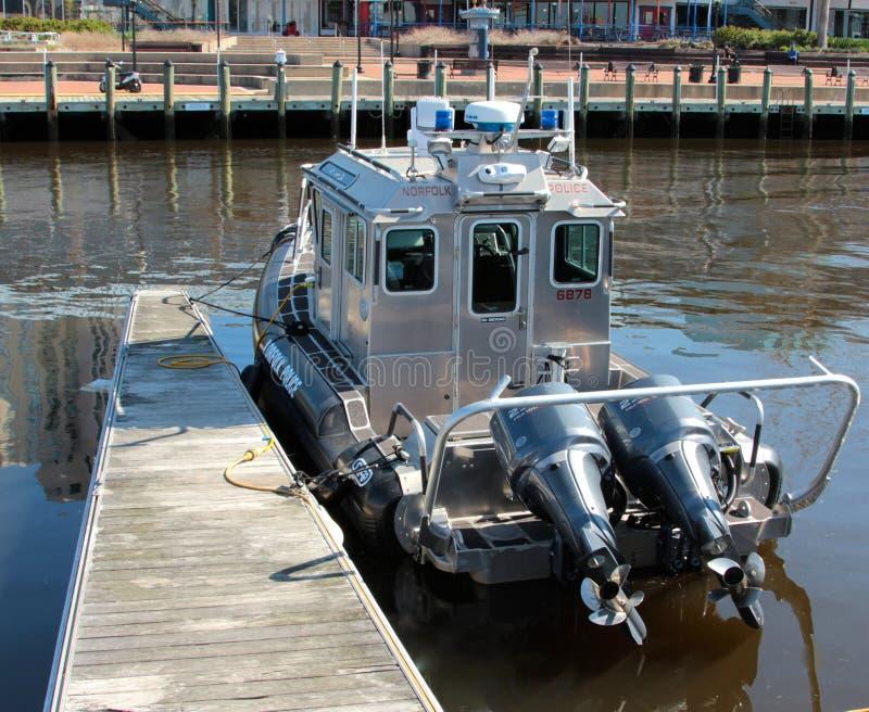 Norfolk Virginia Police Patrol Boat stock afbeeldingen