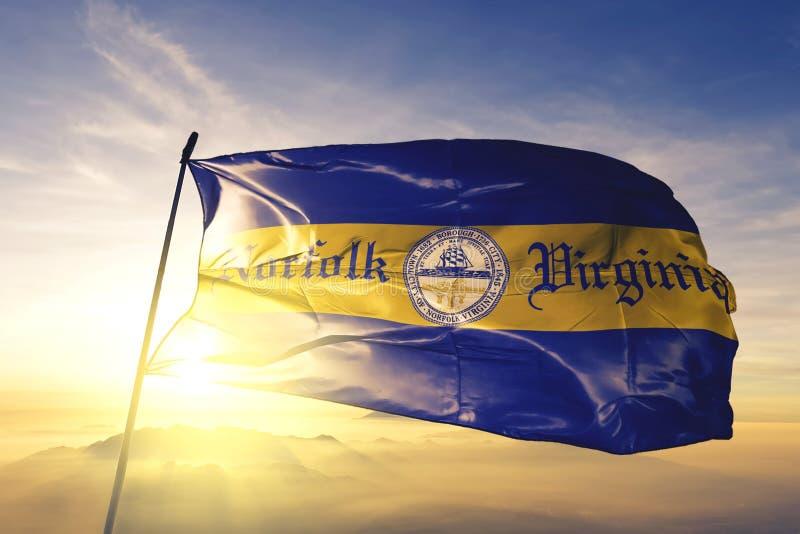 Norfolk of Virginia of United States flag waving on the top. Norfolk of Virginia of United States flag waving royalty free stock photography