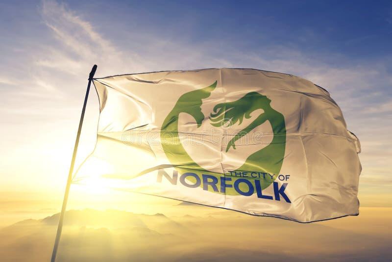 Norfolk of Virginia of United States flag waving on the top. Norfolk of Virginia of United States flag waving royalty free stock image