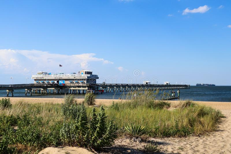 Ocean View Beach and Fishing Pier in Norfolk, VA royalty free stock photos