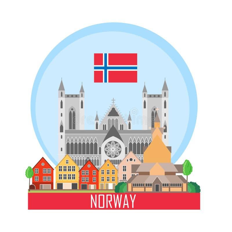 Norge bakgrund med nationella dragningar stock illustrationer