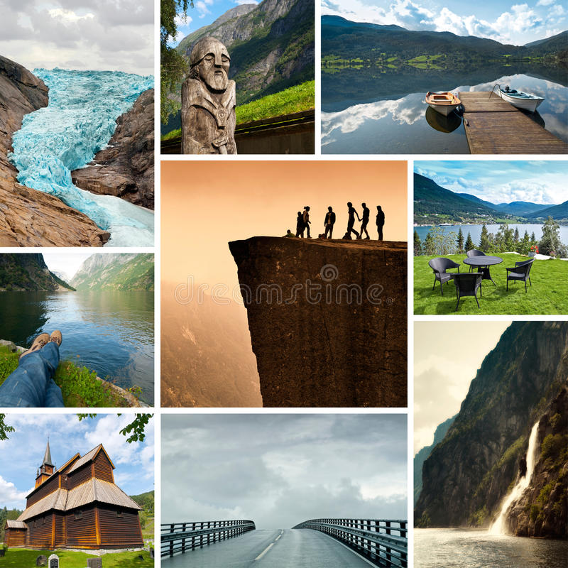 Norge collage arkivfoton