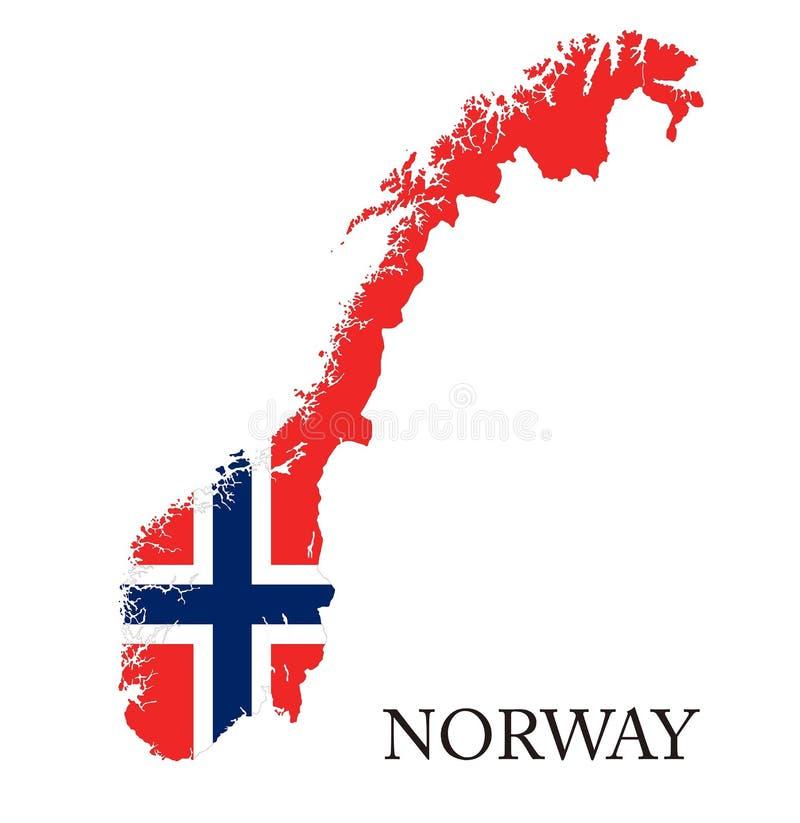 Norge flaggaöversikt stock illustrationer