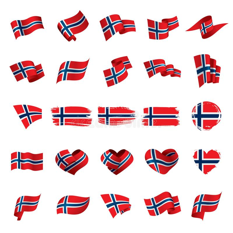 Norge flagga, vektorillustration stock illustrationer