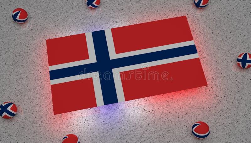 Norge flaggablått vita röda Europa vektor illustrationer