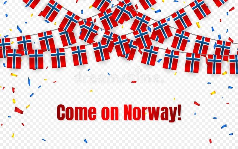 Norge girlandflagga med konfettier på genomskinlig bakgrund, hängningbunting för berömmallbanret, vektorillustration vektor illustrationer