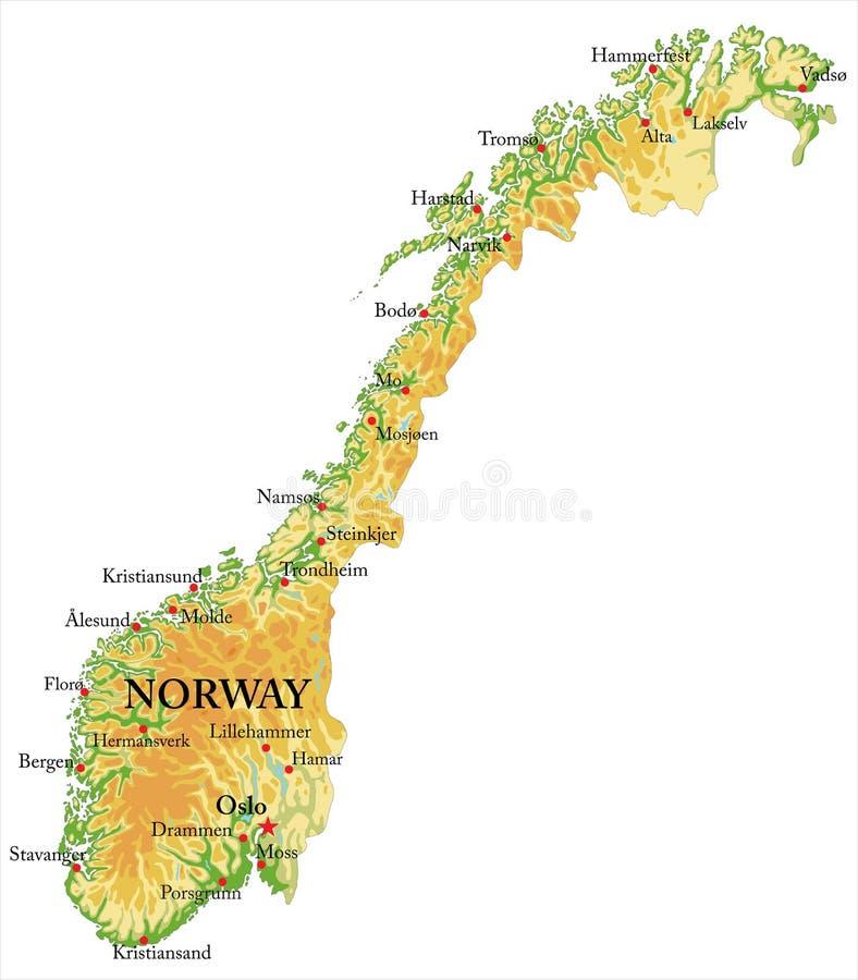 Norge lättnadsöversikt stock illustrationer