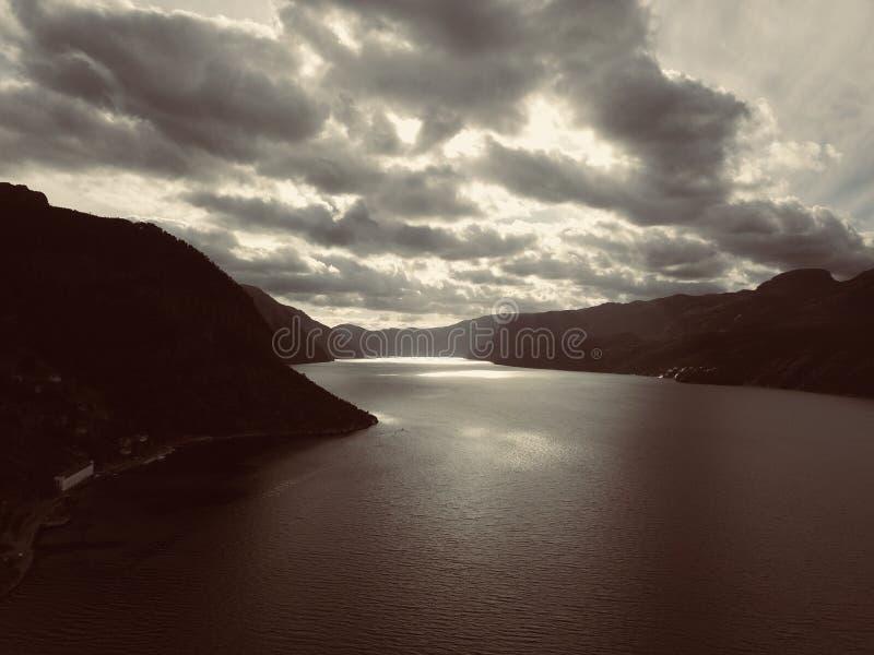 Norge Lysefjord arkivbild