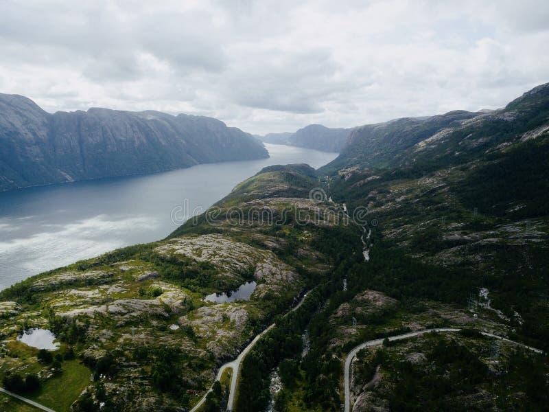 Norge Lysefjord fotografering för bildbyråer