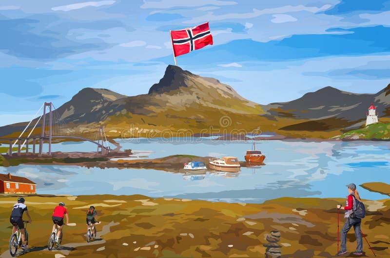 Norge välkomnandekort stock illustrationer