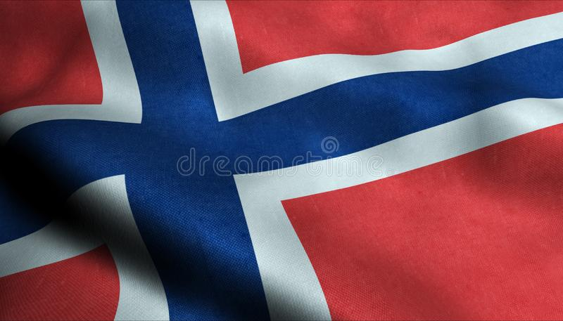 Norge vinkande flagga i 3D stock illustrationer