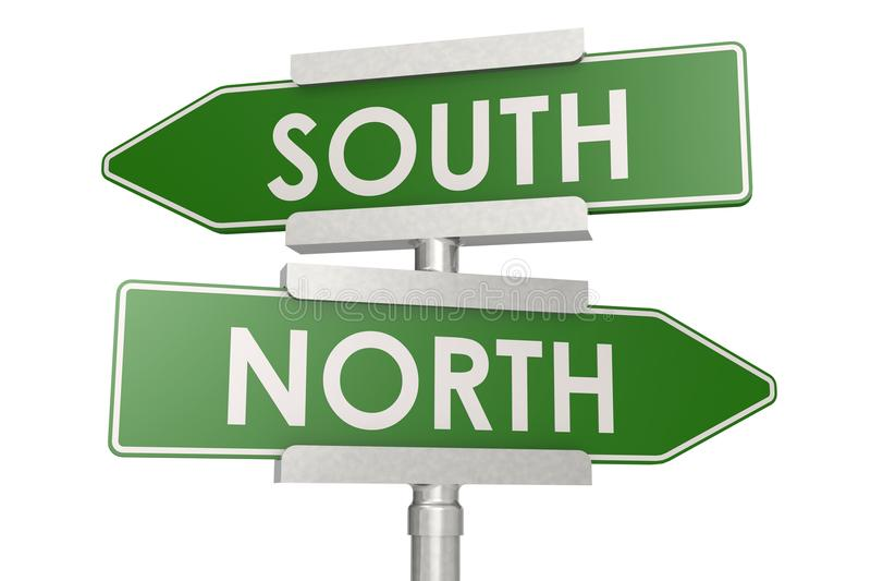 Norht en zuiden groene verkeersteken royalty-vrije illustratie