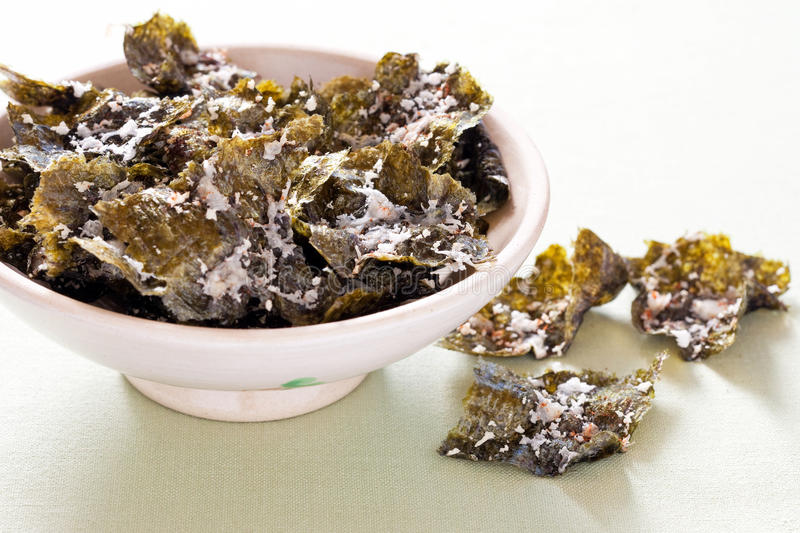 Nori Chips. With cheese and chili, selective focus royalty free stock photo