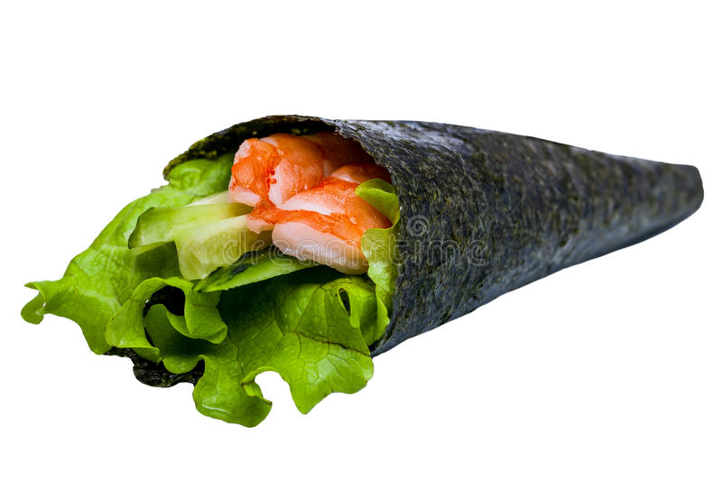 Nori dei sushi con il tonno ed il gamberetto isolati fotografia stock