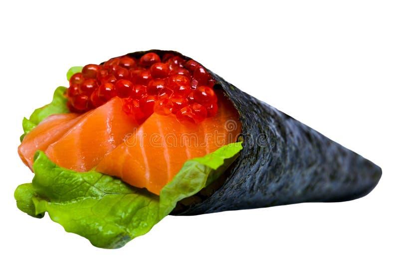 Nori dei sushi del caviale con il tonno ed il salmone isolati fotografia stock libera da diritti