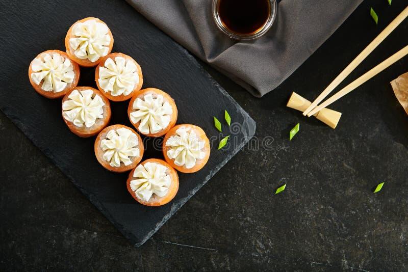 Nori Maki Philadelphia Sushi Rolls royalty-vrije stock foto
