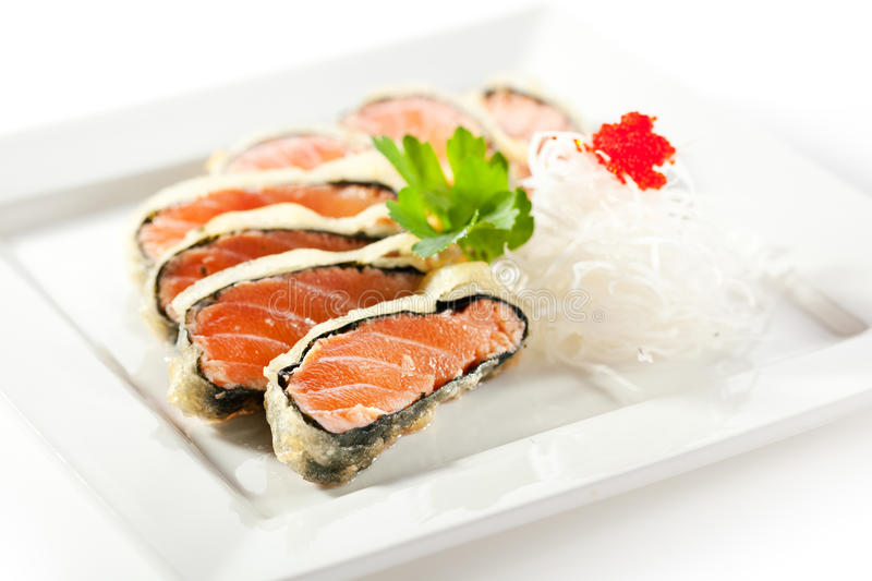 Nori Wrapped Salmon royaltyfri fotografi