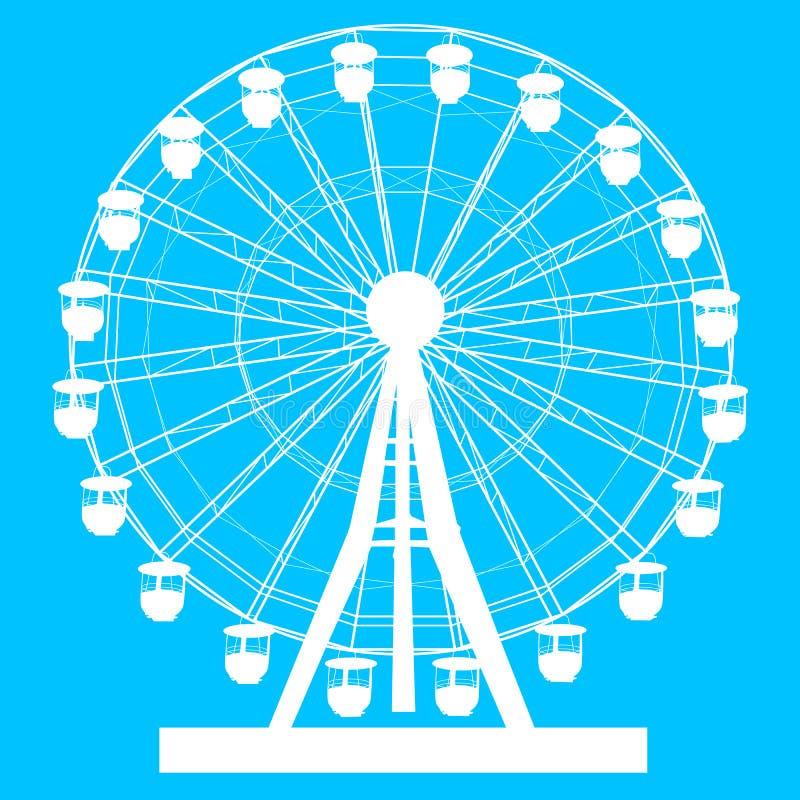 Noria colorida del atraktsion de la silueta en el ejemplo azul del fondo stock de ilustración