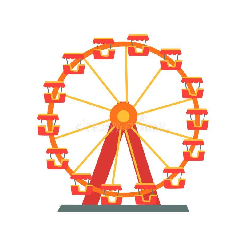 Noria colorida del parque de atracciones Elemento del entretenimiento para la diversión de la familia Símbolo de la atracción Dis stock de ilustración